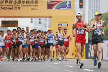Hagen Pohle leads the men's 20km race walk at the IAAF World Race Walking Team Championships Taicang 2018 (Getty Images)