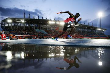 Kenyan sprinter Mark Otieno Odhiambo at the 2017 World Relays (Getty Images)
