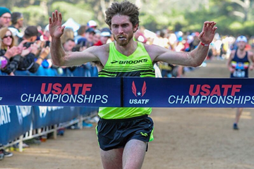 Garrett Heath wins the senior men's race at the USATF Club Cross Country National Championships (USATF / Michael Scott Photography)
