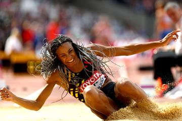 Nafissatou Thiam in the heptathlon long jump at the IAAF World Championships London 2017 (Getty Images)
