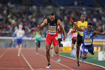 Machel Cedenio of Trinidad and Tobago in the men's 4x400m at the IAAF World Relays Yokohama 2019 (Roger Sedres)