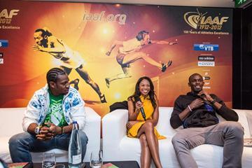 Yohan Blake, Allyson Felix and Usain Bolt in Barcelona (Philippe Fitte)