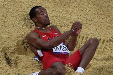 Christian Taylor of the United States in action before winning the gold medal in the Men's Triple Jump Final of the London 2012 Olympic Games  on August 9, 2012 (Getty Images)