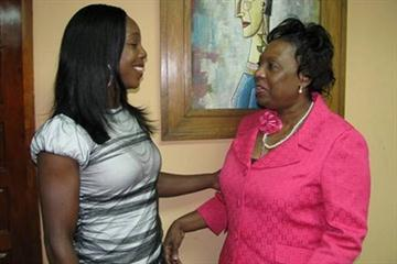 Veronica Campbell-Brown with Jamaica's Minister of Sport Olivia 'Babsy' Grange (Paul Reid)
