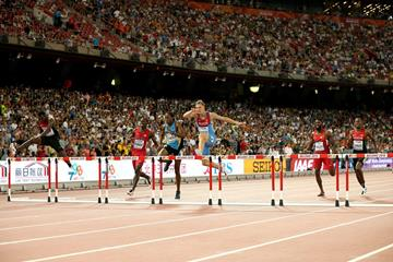 Denis Kudryavtsev (centre) at the 10th hurdle in the IAAF World Championships, Beijing 2015 400m hurdles final (Getty Images)