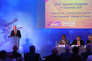 The local organising committee of the IAAF World Championships London 2017 deliver a presentation at the IAAF Special Congress in Monaco (Giancarlo Colombo / IAAF)