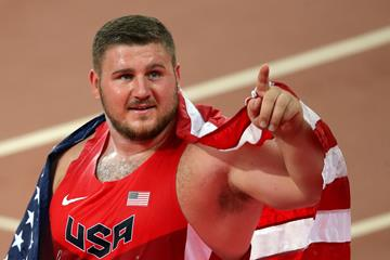 USA's Joe Kovacs celebrates after winning gold in the shot put at the IAAF World Championships, Beijing 2015 (Getty Images)