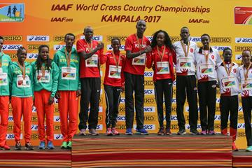 Mixed relay podium, World Cross Country Championships Kampala 2017: winners Kenya (c), silver medallists Ethiopia (l) and bronze medallists Turkey (r) (Roger Sedres)