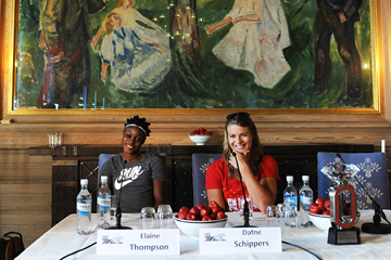 Elaine Thompson and Dafne Schippers at the press conference for the IAAF Diamond League meeting in Oslo (Mark Shearman)
