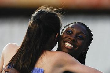 Anthonique Strachan of Bahamas celebrates after winning the gold medal on the Women's 100 metres Final on the day two of the 14th IAAF World Junior Championships in Barcelona  (Getty Images)