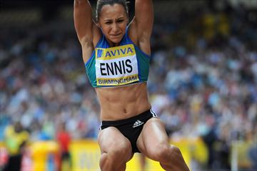 Jessica Ennis on the way to a season's best 6.44m in Birmingham (Getty Images)