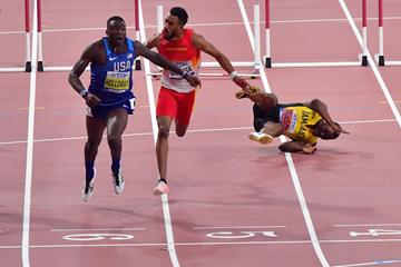 Grant Holloway takes the 110m hurdles title at the IAAF World Athletics Championships Doha 2019 (Getty Images)