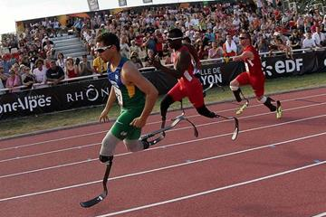 Brazil's Alan Fonteles Cardoso Oliveira winning at the 2013 IPC Athletics World Championships   ( IPC Athletics World Championships Lyon 2013)