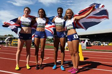 4x400m silver medallists Great Britain at the IAAF World Junior Championships, Oregon 2014 (Getty Images)