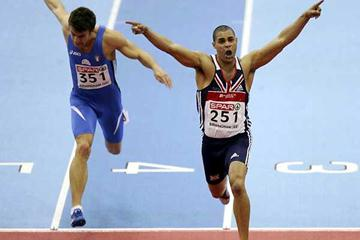 Jason Gardener wins the 60m in Birmingham (Getty Images)