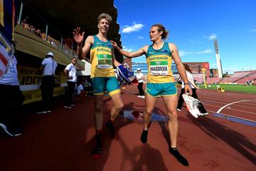 Australian decathletes Ashley Moloney and Gary Haasbroek at the IAAF World U20 Championships Tampere 2018 (Getty Images)