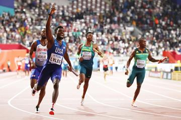 Noah Lyles anchors the USA to the men's 4x100m relay title in Doha (Getty Images)