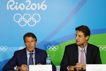 IAAF President Sebastian Coe and IAAF Chief Executive Officer Olivier Gers at the closing press conference at the Rio 2016 Olympic Games (Getty Images)