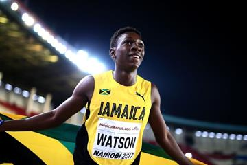 Antonio Watson after winning the 400m at the IAAF World U18 Championships Nairobi 2017 (Getty Images)