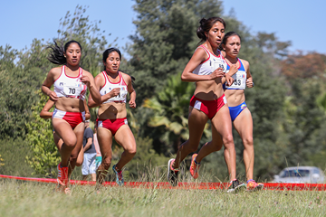 Rina Cjuro on her way to winning the junior women's race at the South American Cross Country Championships (Oscar Munoz Badilla)
