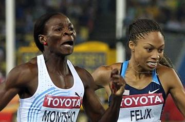 Amantle Montsho (L) of Botswana and Allyson Felix of United States compete in the women's 400 metres final  (Getty Images)