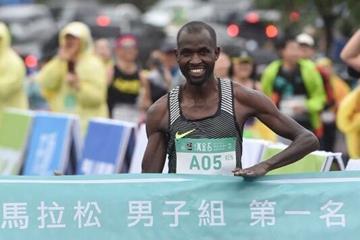 Hilary Kipkosgei Yego winning the New Taipei City Wan Jin Shi Marathon ( CKPC & RunningBiji /photographer Tang, Fu-Yo & Chang, Chih-Yao)