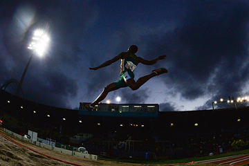 Ruswahl Samaai in the long jump at the African Championships (Roger Sedres)