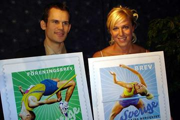 Stefan Holm and Kajsa Bergqvist with examples of their stamps (c)