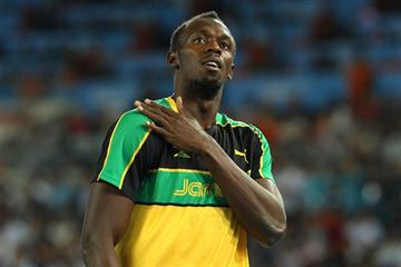 Usain Bolt looking relaxed before his first race of the IAAF World Championships, Daegu 2011 (Getty Images)