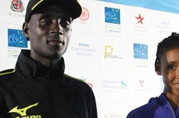 William Kipsang of Kenya and Fatuma Sado of Ethiopia during a press 'meet and greet' in Mumbai on 12 Jan (SCMM Organisers)