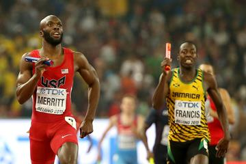 LaShawn Merritt and Javon Francis in the 4x400m at the IAAF World Championships, Beijing 2015 (Getty Images)