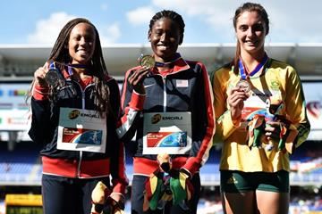 The girls' 200m podium at the IAAF World Youth Championships, Cali 2015 (Getty Images)