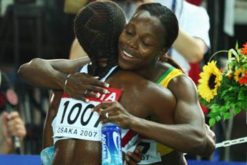 Gold medallist Veronica Campbell is congratulated by silver medallist Lauryn Williams (Getty Images)
