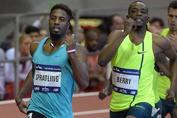 Brycen Spratling on his way to setting a world indoor 500m best at the Millrose Games (Kirby Lee)