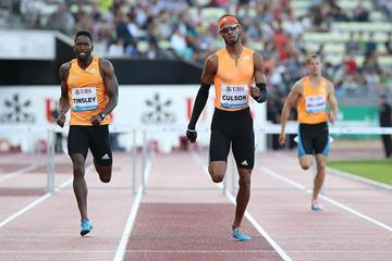 Javier Culson wining the 400m hurdles at the 2014 IAAF Diamond League in Lausanne (Giancarlo Colombo)