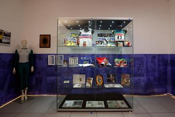 One of six glass showcases displaying artefacts at the IAAF Heritage Exhibition in Ostrava (Getty Images for IAAF)