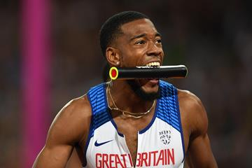 Nethaneel Mitchell-Blake after his triumph in the London 4x100m relay (Getty Images)