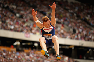 Greg Rutherford in the long jump at the IAAF Diamond League meeting in London (Getty Images)