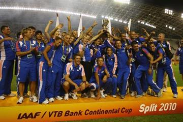 Members of Team Europe celebrate winning the IAAF / VTB Bank Continental Cup in Split (Getty Images)