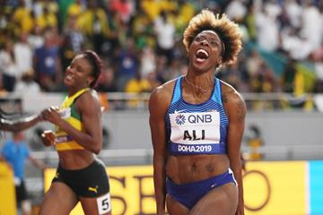 All smiles! Nia Ali takes the 100m hurdles title at the IAAF World Championships Doha 2019 (Getty Images)