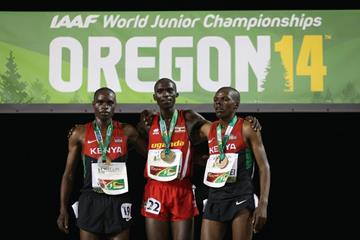 The 10,000m medallists at the 2014 IAAF World Junior Championships in Eugene (Getty Images)
