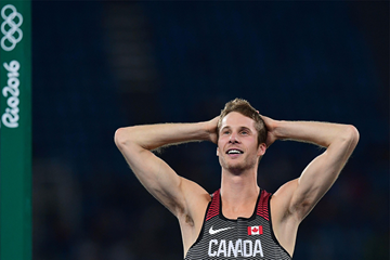 Derek Drouin after winning the high jump at the Rio 2016 Olympic Games (AFP / Getty Images)