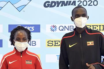 Peres Jepchirchir and Joshua Cheptegei at the press conference for the World Athletics Half Marathon Championships Gdynia 2020 (Getty Images)