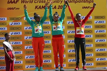 Women's U20 podium, World Cross Country Championships Kampala 2017: winner Letesenbet Gidey (c), silver medallist Hawi Feysa (l) and bronze medallist Celliphine Chespol (Roger Sedres)