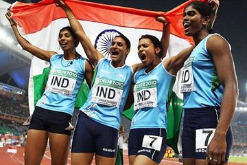 Indian 4x400m Relay quartet celebrate after victory at the Commonwealth Games (Getty Images)