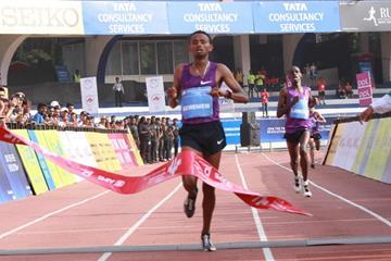 Mosinet Geremew winning the TCS World 10K in Bengaluru (TCS World 10K Organisers)
