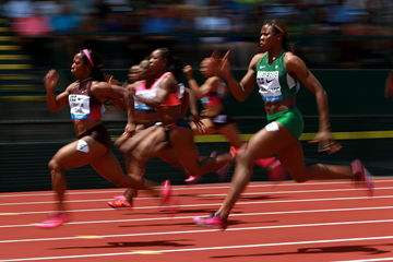 Shelly-Ann Fraser-Pryce on her way to winning the 100m at the IAAF Diamond League meeting in Eugene (Getty Images)