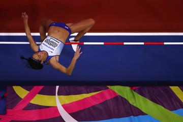 Katarina Johnson-Thompson in pentathlon high jump in Birmingham (Getty Images)