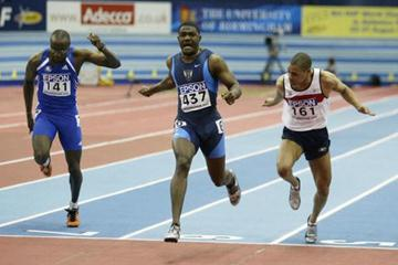 Justin Gatlin winning the men's 60m final (Getty Images)