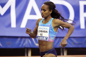 Genzebe Dibaba on her way to winning the 1500m at the IAAF World Indoor Tour meeting in Madrid (Jean-Pierre Durand)